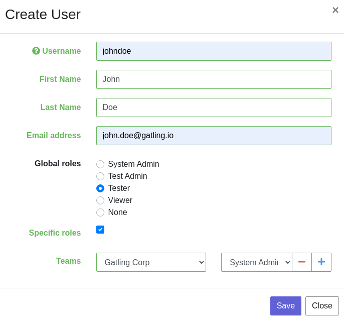 User creation