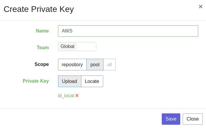 Private Key creation modal