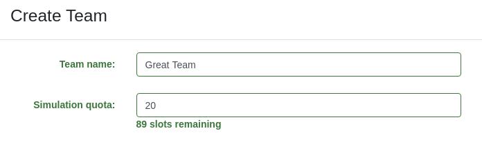 Creating a team