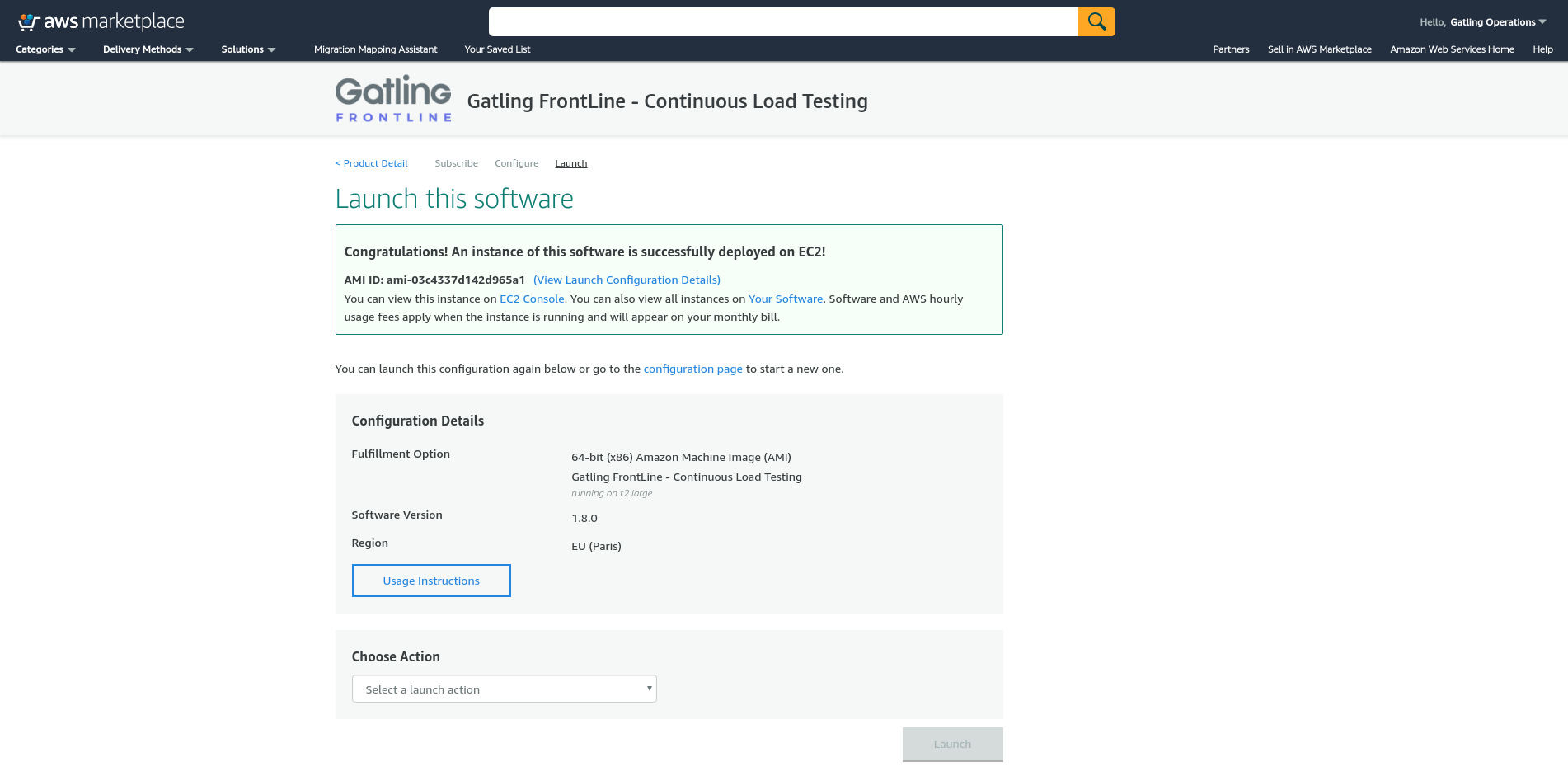 Gatling FrontLine in AWS Marketplace - congratulations screen